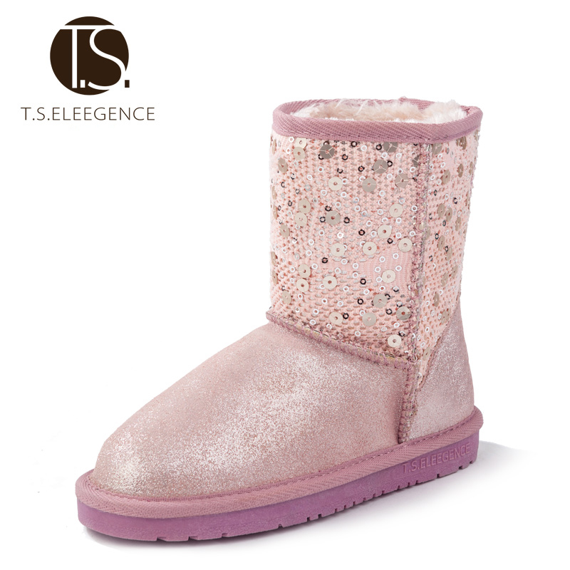 ФОТО T.S. kids snow boot EU size 28-37 children girls genuine leather kids shoes warm winter colorful Sequins boots purple pink Black