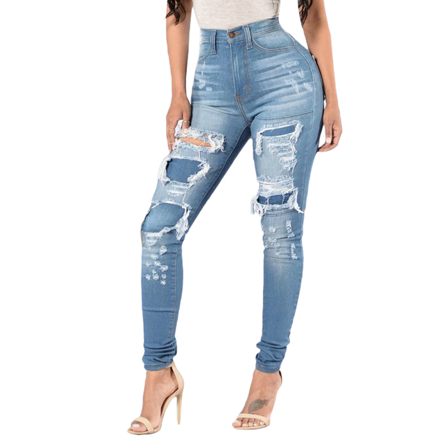 3f9efee12cd Fashion High Waist Ripped Jeans For Women Skinny Blue Denim Pencil Pants  Stretch Waist Women Jeans
