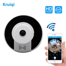 Kruiqi 360 Degree Panoramic HD 3MP Camera Wireless IP Security Video Camera With IR Night Vision  For Iphone Android APP Control fredi 360 degree panoramic ip camera 960p hd 1 3mp security wifi camera infrared night vision wireless camera support 128g card
