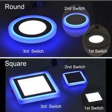 LED Panel light Round 6W 9W 16W 24W 3 Model Square Lamp Double Color Light Blue Cold White Spot DownLight