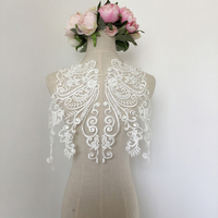 1Piece Delicate Big Collar Ivory Floral Lace Appliques Wedding Trim Embroidery Lace Accessories For DIY Craft