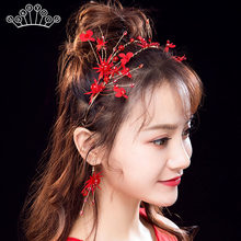 Red Color Wedding Hair Accessories Bridal Hair Accessories Headbands Tiaras and Crowns for Bride China Style(China)