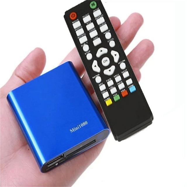 Venda quente 1080 P Mini HDD Media Player MKV/H.264/RMVB HD com HOST USB/Cartão SD leitor fácil de transportar muito agradável