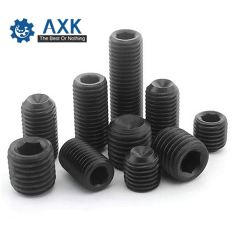 <font><b>1000Pcs</b></font> DIN916 <font><b>M3</b></font> M4 Grade 12.9 Carbon Steel Inner Hexagon Socket Set Screw Metric Thread Grub Screws Black image