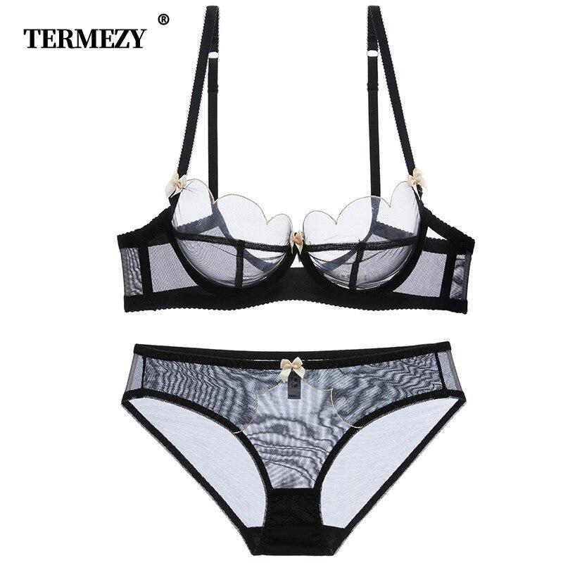 TERMEZY 2019 new Sexy Lace bar set ultra thin net gauze transparent Lingerie Set Push up brassier Fashion lace underwear lingerie top