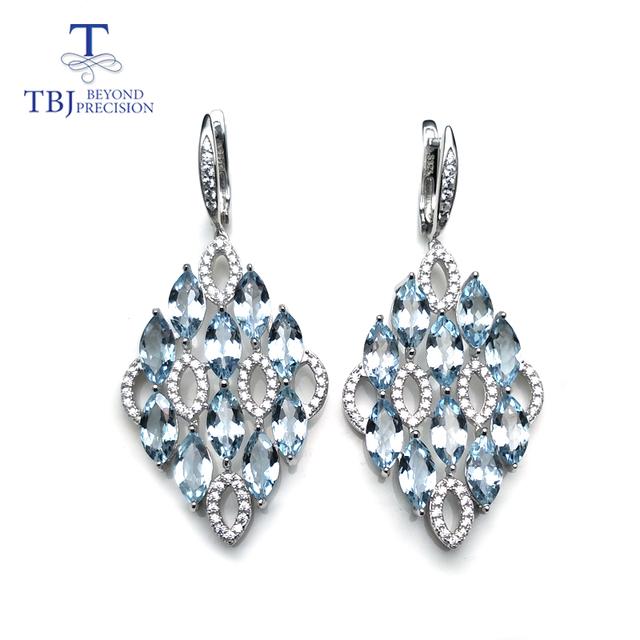Brazil aquamarine gemstone Clasp Dangle Earrings 925 Sterling Silver