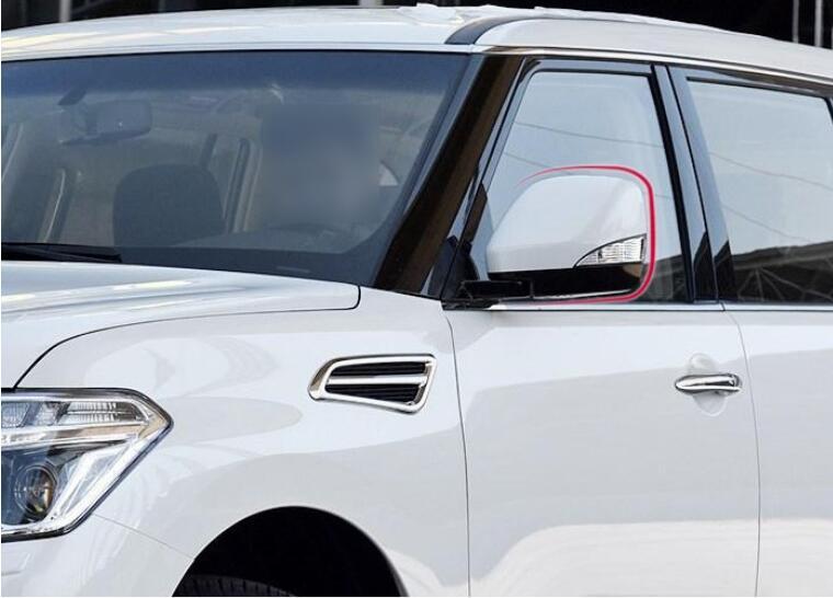 Стайлинга автомобилей 4 шт. для автомобиля Ниссан Патрол Y62 2010-2016 СИД зеркало заднего вида фары жемчужно-белый и черный цвет