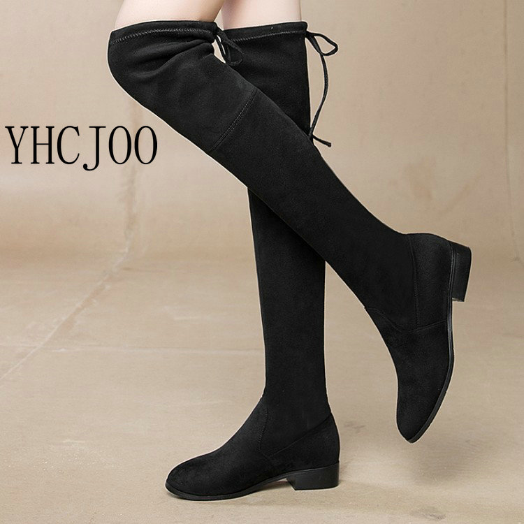2017 NEW Women Faux Suede Slim Boots Sexy Lace-Up Over The Knee Boots Women Shoes Soild Autumn Winter Warm Fashion Boots Black