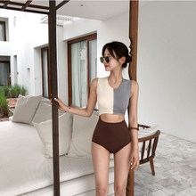 2018 Korean Women One Pieces Swimwear Sexy Super Cute Front Zipper High Neck Shoulder Swimsuit Middle Cut Maillot de bain(China)