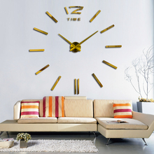 3d real big wall clock rushed mirror sticker diy living room decor free shipping fashion watches  2016 new arrival Quartz clocks