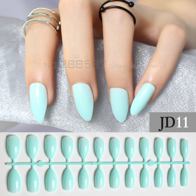 Pure Colour New Mint Mountain Peak Designs Light Blue Artificial Nail Full Tips Decorating Stiletto