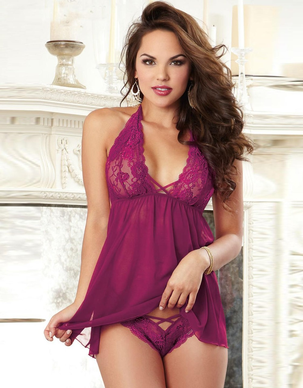 M-3XL sexy lingerie hot soft lace Sling deep V-neck Teddy chemise SM cosplay sexy plus size lingerie lenceria costumes W266542