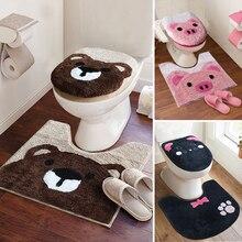 3 Pz/set Super Soft Addensare Set Set Toilette Toilette Bagno Tavolette Copriwater Del Fumetto Caldo Closestool Cuscino Wc Coperchio Della Copertura da Bagno Zerbino Set