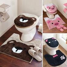 3 sztuk/zestaw Super miękkie zagęścić zestawy toaletowe sedes do łazienki pokrywa Cartoon ciepłe Closestool wc poduszka pokrywa zestaw mat do kąpieli