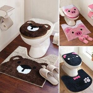 Housse de siège de toilette | Ensemble de 3 pièces, housse de siège de toilette épais et Super doux, housse de fermeture de toilette chaude, de dessin animé, ensemble de tapis de bain