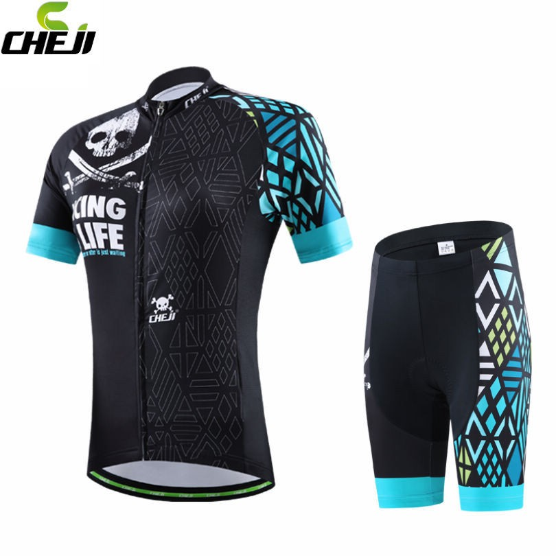Prix pour 2016 CHEJI femmes vélo maillot de vélos Ropa Ciclismo vêtements de cyclisme course vêtements costume GEL Shorts Set noir - vert