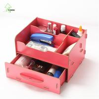 YIHONG DIY Wooden Jewelry Container Makeup Organizer Case Handmade Assembly Cosmetic Organizer Sundries Sort out Wood Box