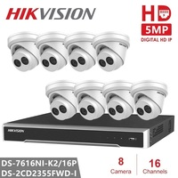 Hikvision IP Camera System 16CH NVR & 8PCS Camera DS 2CD2355FWD I 5MP IP Network Turret Camera Video Surveillance Security