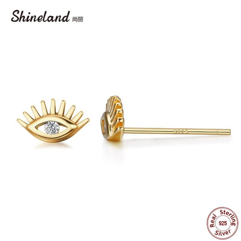 Shineland Delicate 100% 925 Pendientes de ojo de plata esterlina - Joyas