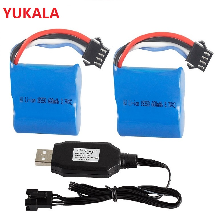 YUKALA <font><b>7.4V</b></font> <font><b>600Mah</b></font>/1500MAH Li-ion <font><b>battery</b></font> 4P plus/USB charger for UDI001 UDI002 UDI902 961 962 2.4G RC racing boat image