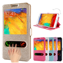 High Quality View Window Flip Luxury PU Leather Case For Samsung Galaxy Note 5 3 4 Cover With Stand Design Phone Bags Cases protective flip open pu leather case w stand display window for samsung note 3 purple