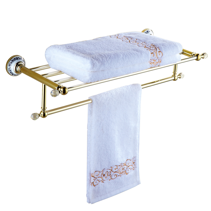 Towel Rack With Drill Sets Golden Copper Bronze Ceramic Base Wall Mount European Bathroom Shelf Accessories Products Wp10 antique crystal golden towel rack polished copper towel holder bathroom shelf bathroom accessories products