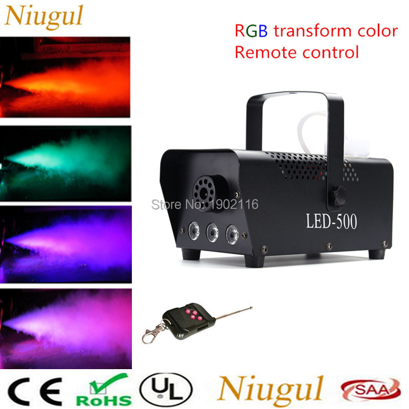 Niugul 500W Mini Wireless Remote Control LED Smoke Machine /RGB Color LED Fog Machine /Professional LED Stage Smoke Maker Fogger remote control led fog machine rgb led 400w smoke machine full color smoke generator professional stage party effect fogger