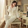 2017 Primavera e No outono verão Mulheres longo-luva sleepwear pano de tecido de algodão 100% set lounge pijama definir treino