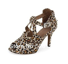 Women Leopard Satin Heel Dance Shoes Latin Ballroom Shoes Salsa Dance Shoes Bachata Tango Shoes Size 34,35,36,37,38,39,40,41
