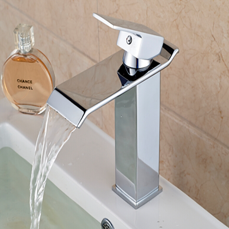 Hot Sale Waterfall Bathroom Basin Faucet Waterfall Spout Sink Mixer Tap Hot Cold Mixer With Two