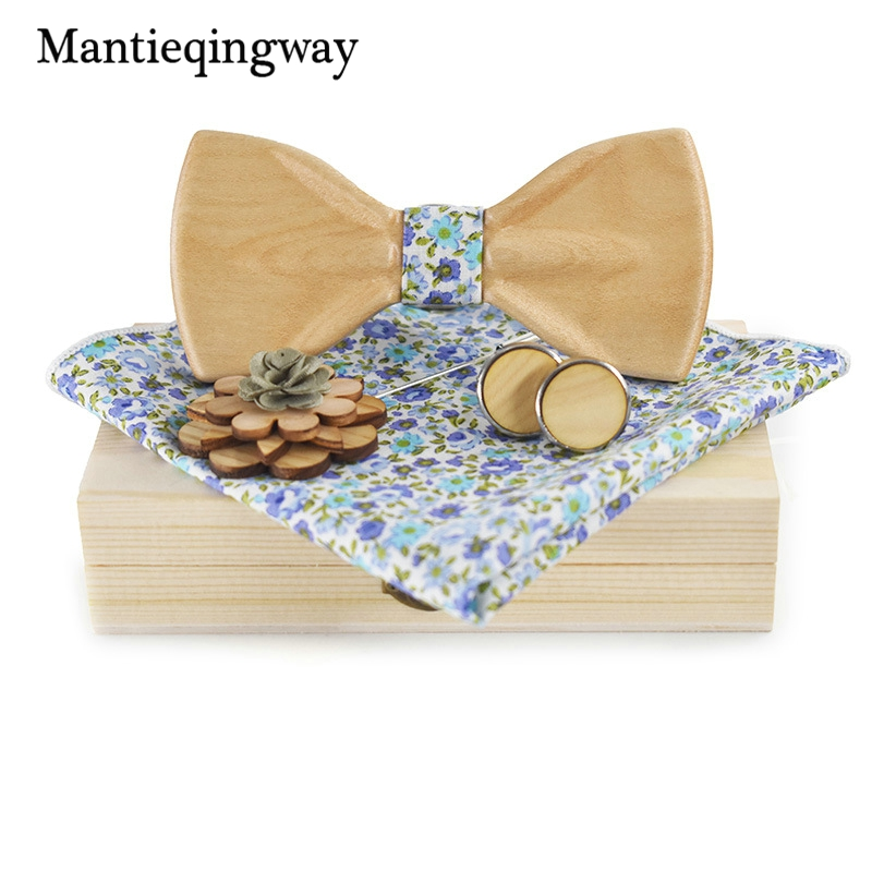 Mantieqingway En Bois Bowtie pour Hommes Costumes Floral Imprimé Arc Cravates Set Bowknots Bois Bowtie + Mouchoir + Broche + boutons de Manchette ensembles
