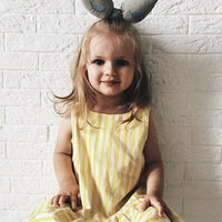 Dresses Yellow Stripes A Word S Girls Babies Cotton Dresses 17 Europe And America Children