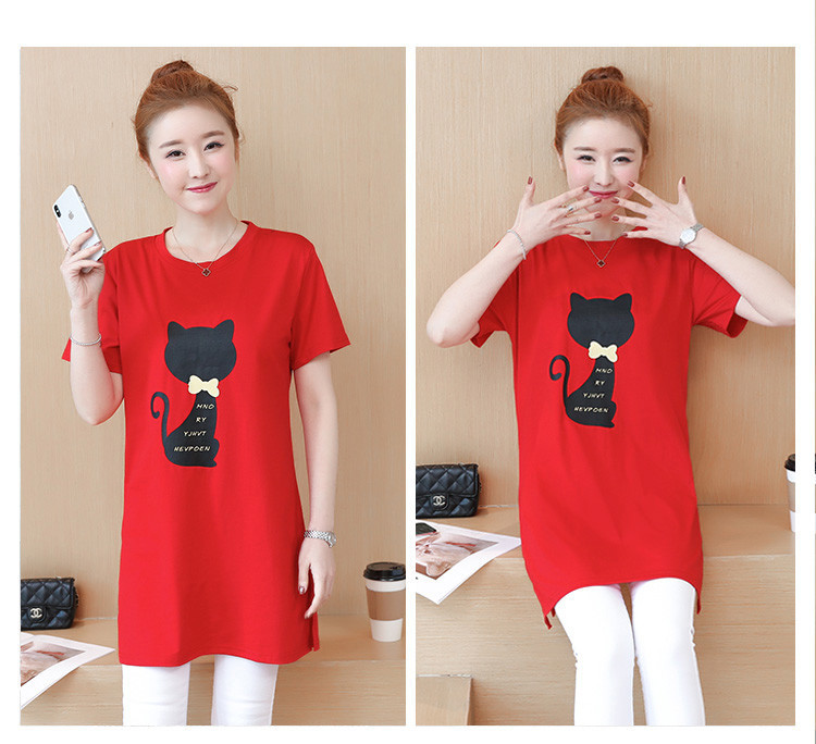 2018 Large size Women T-shirt dress summer Short sleeve Cats print Top Tees Casual O-neck Loose Female Tshirt Plus size 5XL J215 13