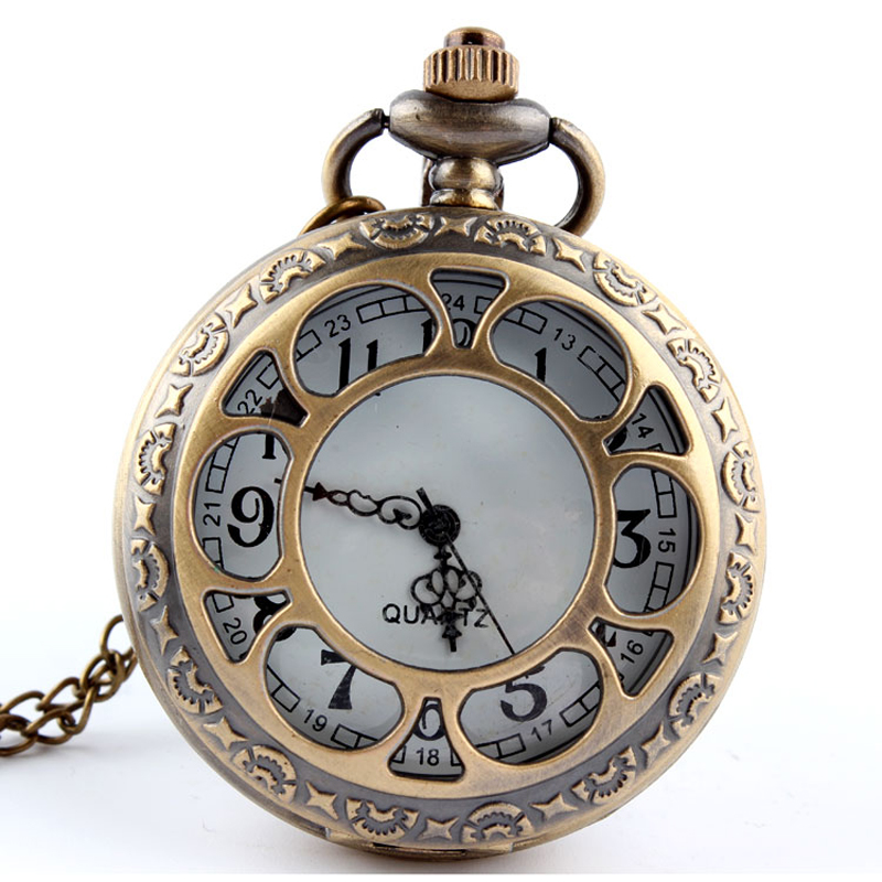Fashion New Hollow Retro Flower Bronze Quartz Pocket Watch Necklace Pendant Fob Chain Women Men Watches Unisex Decoration Casket