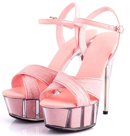 Genuine Wedding Shoes New Women Sexy Sandals Plus Size 34-44 High-heeled 15cm Thick Soles Fine with Waterproof Sandals 5 Color