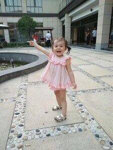 Image 3 - 2PCS ילדה הקיץ ורוד שמלת סט חמוד אנגליה אירופה פס שמלת וינטג ספרדית שמלת עבור תינוק בנות 100% איכות כותנה