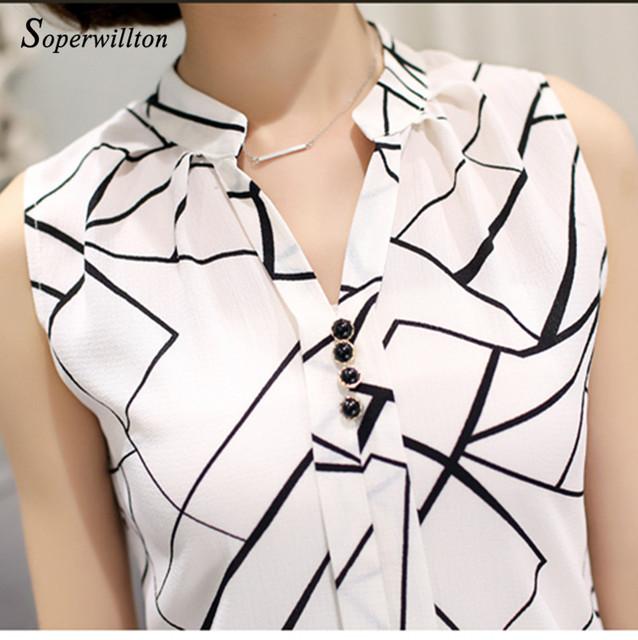 Soperwillton New 2017 Summer Chiffon Blouse shirt Women Printed Sleeveless White top Blouses Shirts Female Office tops #A806