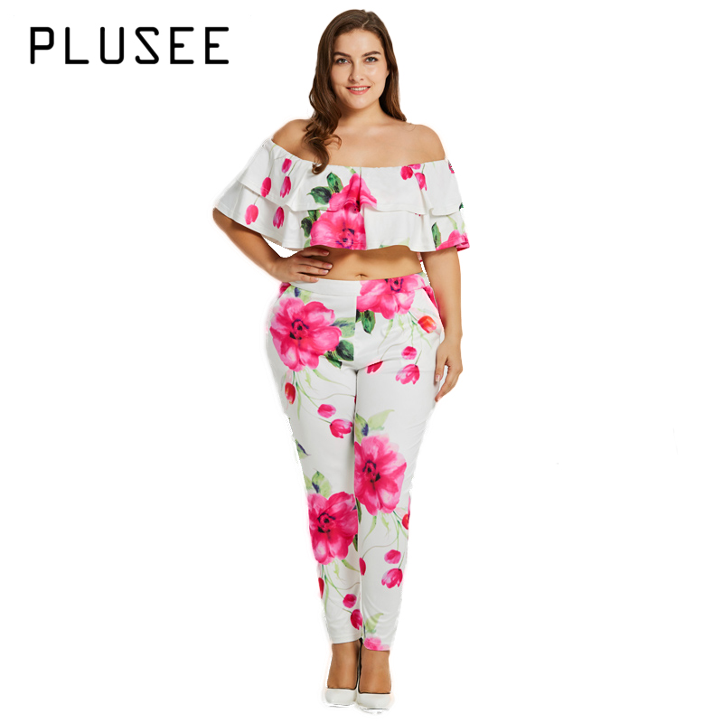 Plusee Plus Size Fashion Womens Set Ruffles Short Sleeve Tops Floral Suit Long Pants Ove ...