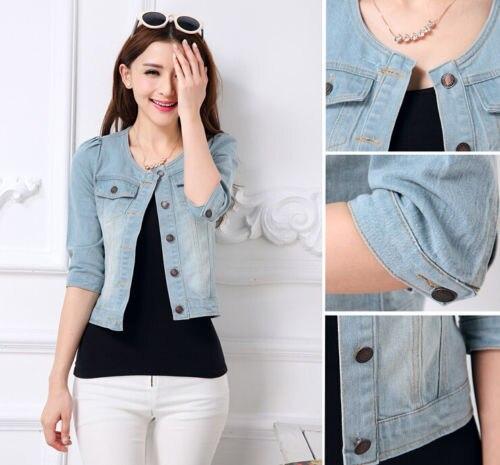 New 2015 Fashion Women Ladies Jeans Denim Jacket 3/4