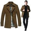 Plus size XXXL 2013 outono formais dos homens trench coat de algodão, masculino moda outerwear, magro ocasional equipado sobretudo para os homens