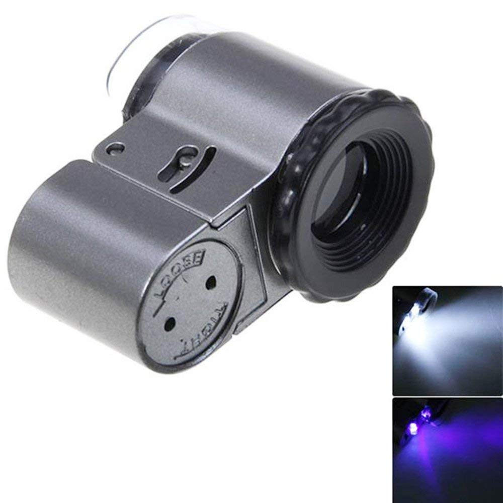 50X Pocket Jewelry Microscope Magnifier Loupe Magnifying Glass with 2 White LED Lights and 1 UV LED Light