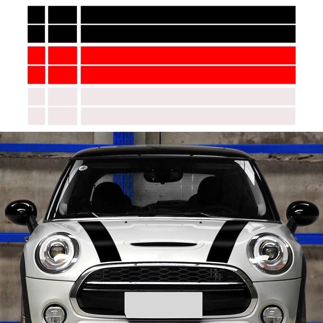 CITALL 2 шт. Автомобильный капот в полоску капот наклейка крышка виниловая наклейка подходит для MINI Cooper R50 R53 R56 R55 dWm2754536 черный/белый/красный