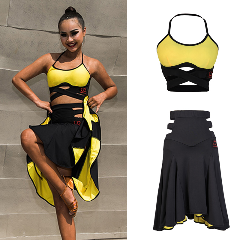 Latin Dance Dress Yellow Sexy Sling Halter Top Skirt Women Clothes Salsa Samba Cha Cha Dancing Costumes Practice Wear DN3987