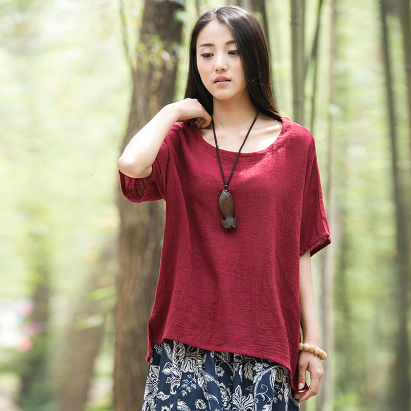 Ethnic Women Solid Cotton Blouse Low High Asymmetrical Hemline O Neck Splits Round Neck Casual Loose Comfortable Blouses