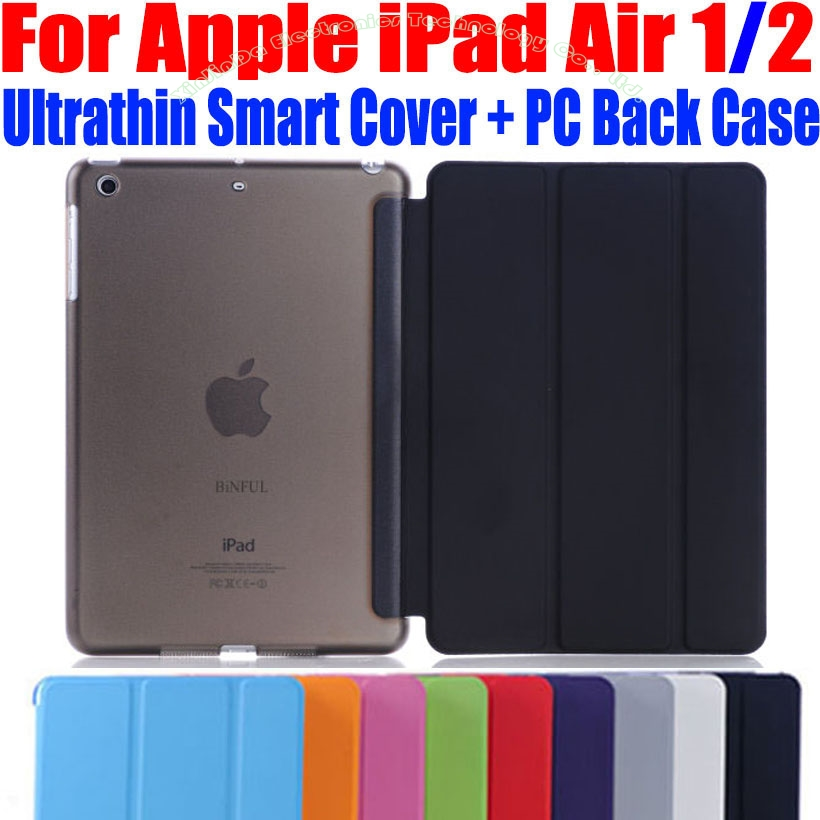 Fashion Ultrathin Smart Cover For iPad Air PU Leather Case + PC translucent back Case for Apple ipad air 1 2 I609 simple protective pc back case for iphone 5c translucent green