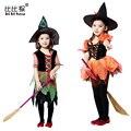 Быстрая доставка Хэллоуин toddiler Девушки Одеваются детский косплей ведьма костюм танец костюмы детские костюм новорожденных девочек одежда