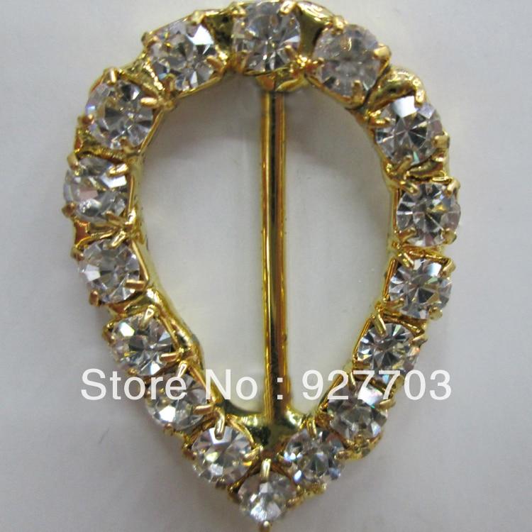 Fashion Style cm382 15mm Innner Bar 100pcs Drop Goldtone Diamante Rhinestone Buckle Chair Sash Ribbon Slider Aromatic Flavor