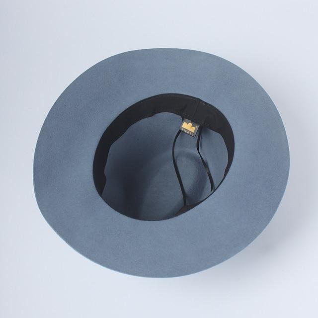 9dd043b0f ROSLEUOSI Autumn Winter Wool Fedora Hat For Women Wide Brim Floppy...