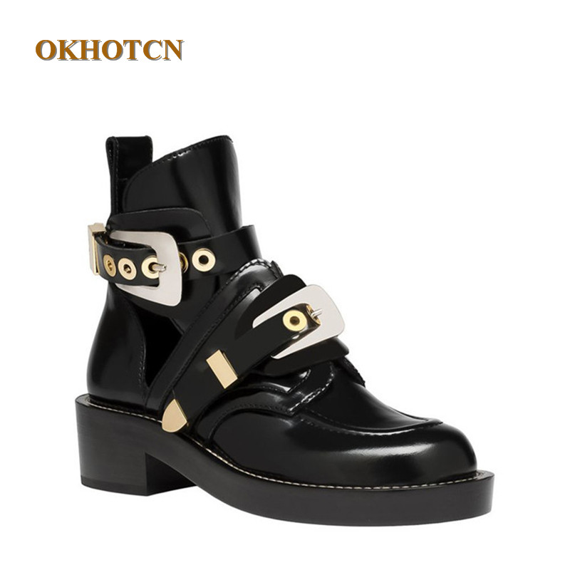 47da75ffe686 Fashion Knitted Women Boots Luxury Metal Gold Buckle Design Genuine Leather  Black Shoes Hollow Flats Shoes
