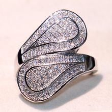 2018 New Arrival Leaf Band Ring For Women Luxury Jewelry Pave Full Cubic Zirconia CZ 925 Silver Fill Female Wedding Finger Ring(China)